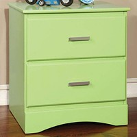 Transitional 2 Drawers Wooden Night Stand With Metal Handles, Glossy Green By Casagear Home