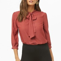 Tie-Neck Curved Hem Shirt