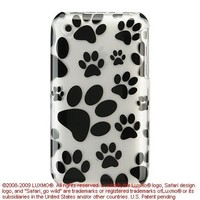 Premium Designer Hard Crystal Snap-on Case for Apple iPhone 3G, 3GS 3G-S - Cool White Puppy Paws Print