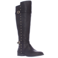 I35 Ameliee Wide Calf Knee High Side Studded Boots, Black, 8 US