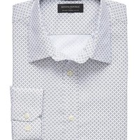 Banana Republic Mens Factory Tailored Fit Non Iron Navy Star Shirt