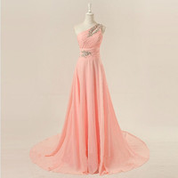 One-shoulder floor-length chiffon beading appliques long prom dresses