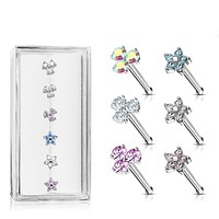 WILDKLASS 6 Pcs of Three Prong Set Round CZ Triangle and Five CZ Flower Top 316L Surgical Steel 20ga Nose Stud Rings Gem Box Package
