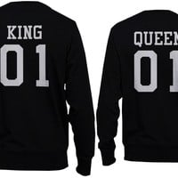 King 01 and Queen 01 Back Print Couple Sweatshirts Cute Pullover Fleece