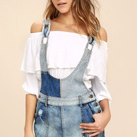 Free People Patchwork Blues Blue Denim Pinafore Dress