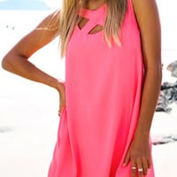 Pink Crisscross Sleeveless Chiffon Mini Dress