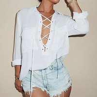 Women Turn Down Collar Lace Up Long Sleeve Blouse Sexy White Chiffon Tops Plus Size Shirt