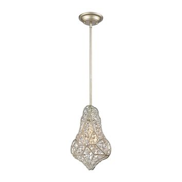 Gemlette 1-Light Mini Pendant in Aged Silver with Wire Cage and Clear Crystal