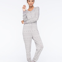 Cosmic Love Fair Isle Womens Onesuit Gray  In Sizes