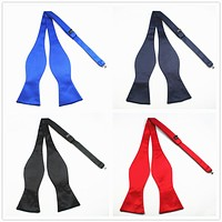 New Quality Fashion Men Bow ties Solid Color Plain Silk Self Tie Bow Ties Butterflies Business Wedding