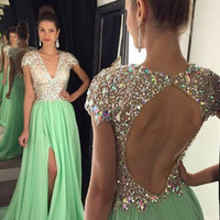 New Arrival Sexy Prom Dresses 2016 A-Line V-Neck Short Sleeve Backless Slit Beaded Crystal Chiffon Floor Length Robe De Spiree