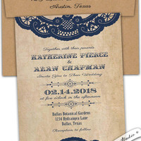 Rustic chic vintage blue lace doily wedding invitation Romantic Western Country Outdoor wedding Custom personalized.