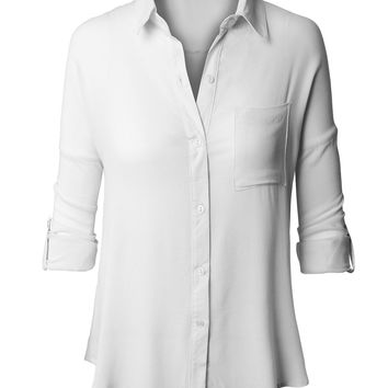 LE3NO Womens Lightweight Loose Blouse Top with Adjustable Sleeves (CLEARANCE)