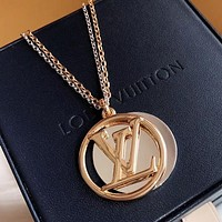 LV Louis Vuitton Hot New Women Two-Tone Double Pendant Necklace