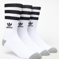 adidas Roller 3 Pack White & Black Crew Socks at PacSun.com