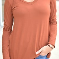 Simply Sweet Tee Long Sleeve - Tobacco