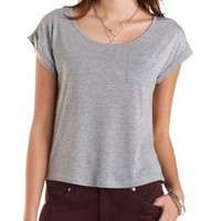Heather Gray Back Button-Up Basic Tee by Charlotte Russe