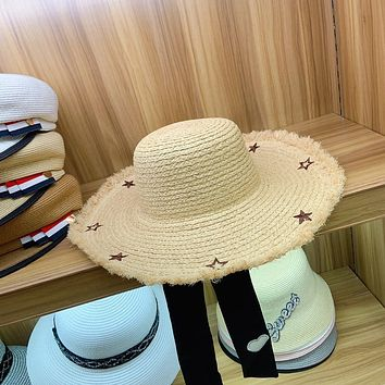 Summer Women Sweet Bandage Pentagram Embroidery Large Brimmed Hat Beach Vacation Straw Sun Cap