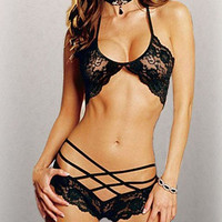 Sexy Passion Lingerie Lace Underwear Babydoll Sleepwear G-string Black (Color: Black) = 5617185537