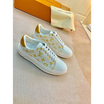2021 LV Louis Vuitton Women Leather HIGH Top Sneakers Shoes WHITE YELLOW