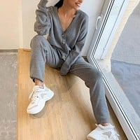Knitted Sweater Sets Autumn Women's Suits Casual Knit Female Track Suit V-Neck Sweaters Long Pants Elegant Ladies Streetwear Set