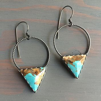 Faceted Turquoise Triangle Twisted Hoops Sterling Silver .925 Hoop Earrings