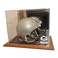 Green Bay Packers NFL Full Size Football Helmet Display Case (Wood Base)
