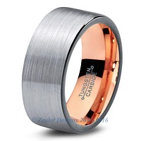 Rose Gold Chromacolor Silver Flat Pipe Cut Tungsten Ring
