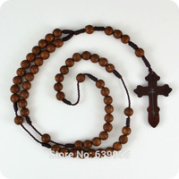Dark Brown Rosary Beads Orthodox Cross Wood Pendant Necklace Fashion Religious jewelry