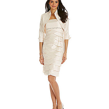 Jessica Howard Petite Tiered Bolero Jacket Dress - Oyster