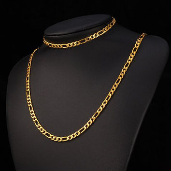 Gold Chain Bracelet and Necklace