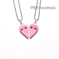 Kawaii Pink Heart Couple/Best Friends Necklaces