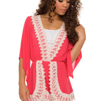 Jackie Lace Romper - Coral