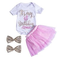 Newborn Kids Baby Girls Outfits Clothes T-shirt Tops Bodysuits Tutu Skirts Headbands 4PCS Clothing Set Baby Girl