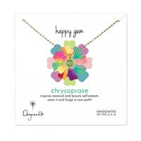 happy gem chrysoprase necklace, gold dipped, 18 inch