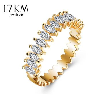 17KM Leaves Design Crystal Rings For Women Gold Color Hollow Serrated Vintage European Engagement Jewelry Rings Pretty Gift
