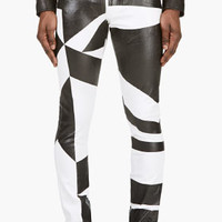 Versus White And Black Printed Slim Fit Jeans