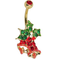 Gem Paved Gold Plated Christmas Bells Belly Ring | Body Candy Body Jewelry