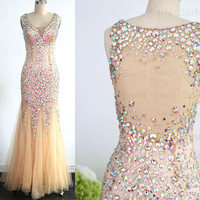 Mermaid Champagne Long Prom Dresses, Champagne Tulle with Crystal Prom Gown, Mermaid Luxury Formal Gown, Sexy Champagne Evening Gown