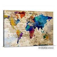 Retro Old and Colorful World Map Canvas Prints Wall Art Map Canvas Old World Map Canvas