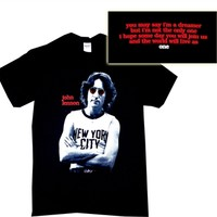 John Lennon NYC Icon Photo 2-sided Shirt for sale online from Old School Tees | Find more Beatles, John Lennon and Classic Rock Tees online at OldSchoolTees.com
