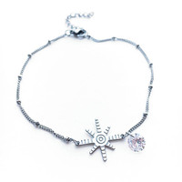 Star Anklet • Silver Anklet • Star Jewelry • Star Ankle Bracelet • Satellite Chain • Foot Jewelry • Crystal Anklet • Dainty Anklet | 0076AM
