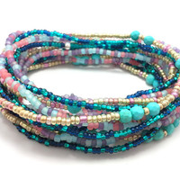 Seed bead wrap stretch bracelets, stacking, beaded, boho anklet, bohemian, stretchy stackable multi strand, gold turquoise pink blue purple