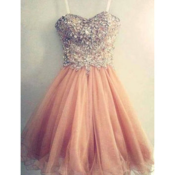 Amazing pink tulle handmade short gown / prom dress / bridesmaid dress