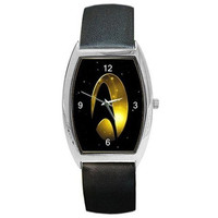 Star Trek Logo (Gold and Black) on a Barrel Watch with Leather Band