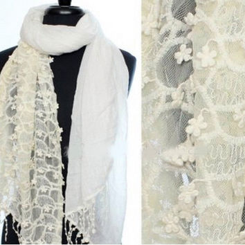 Ivory Lace Scarf Romantic Wedding Bridal Tulle Scarves Party Gift