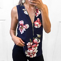 Fashion New Floral Print Vest Top Women  Blue