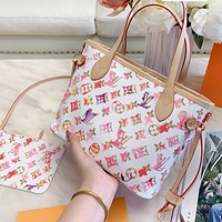 LV Louis Vuitton New Fashion Women Shopping Leather Shoulder Bag Handbag Satchel Wallet Set Two Piece