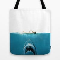 SHARK ATTACK!!! Tote Bag by hardkitty