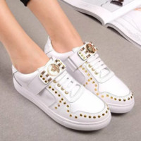 Versace Fashion new rivet running sports woemn and men shoes White